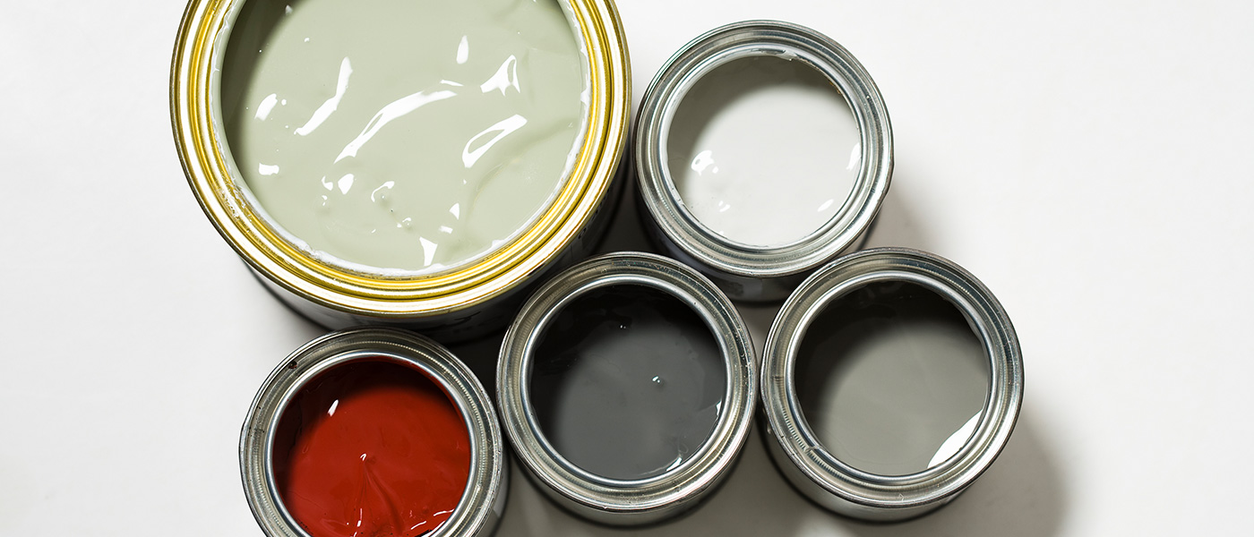 Image ID: ets14585. One bigger and four smaller tins of paint.