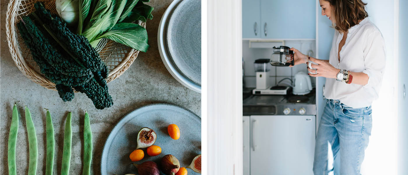 scandinav_ficv Fresh fruits and vegetables on table +  ima168010 Young woman drinking coffee at home