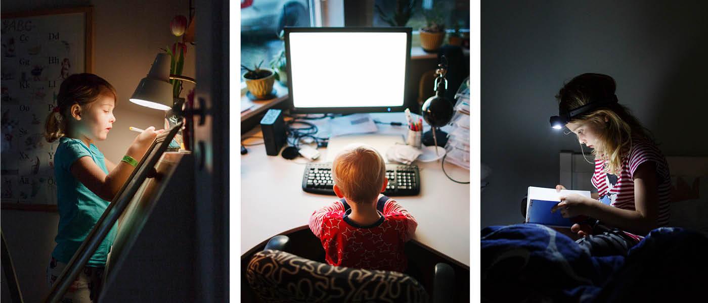 Ima scandinav_fk7a Girl painting in the dark + Ima scandinav_srx5 Boy at the computer + Ima scandinav_9g38 Girl reading in the dark