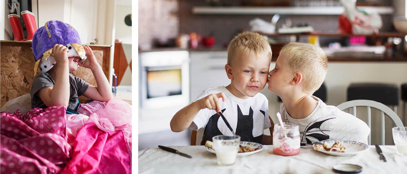 Ima scandinav_och8 Boy dressing up + Ima sca1664 Brothers kissing at breakfast table
