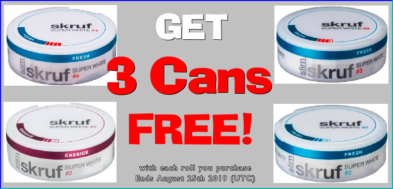 Get 3; that's right, 3 extra cans FREE when you buy any of these new Skruf snus products!!!