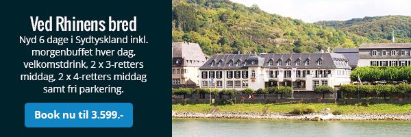 Ferie ved Rhinens bred inkl. mad og fri parkering