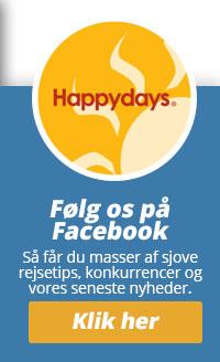 Følg Happydays på Facebook og få masser af rejseinspiration.