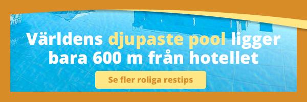Världens djupaste pool ligger bara 600 m från hotellet
