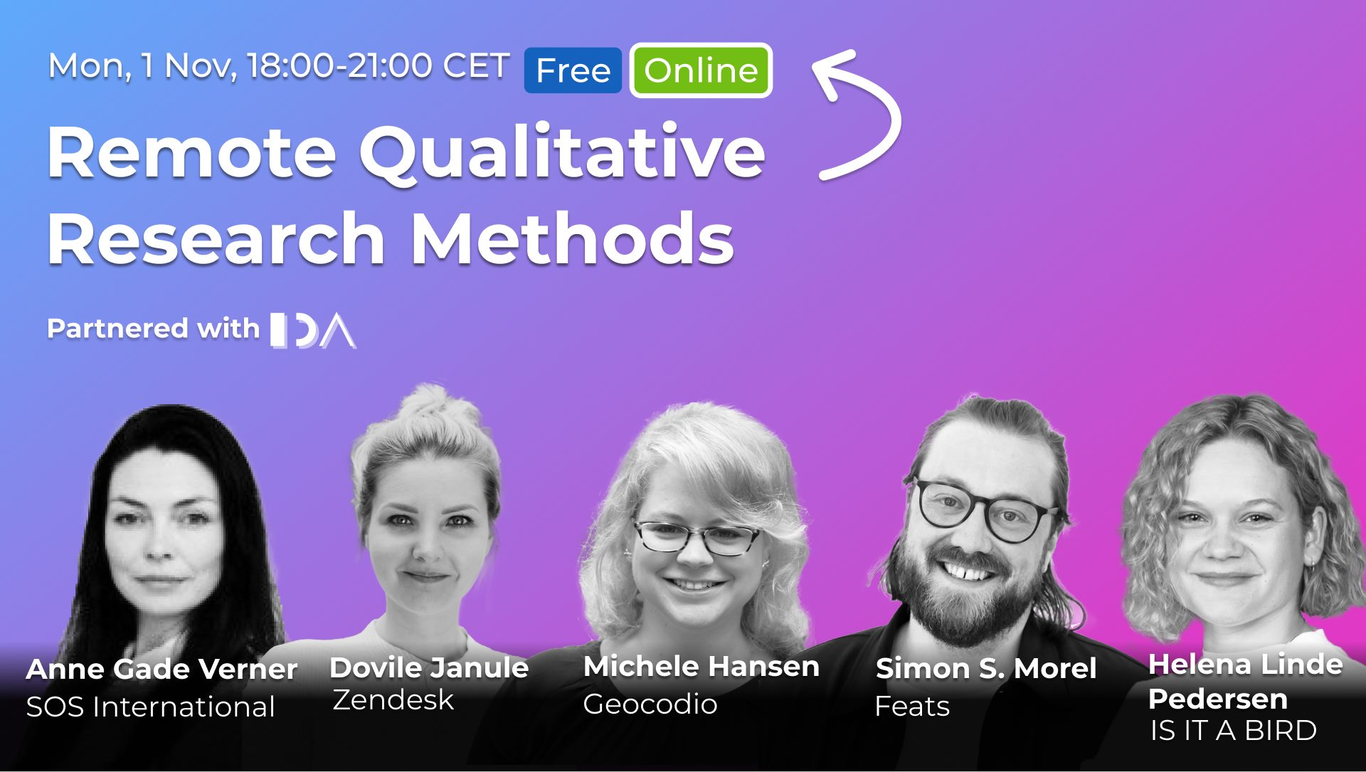 Remote Qualitative Research Methods, a UX Talk together with CPHUX (ONLINE)
