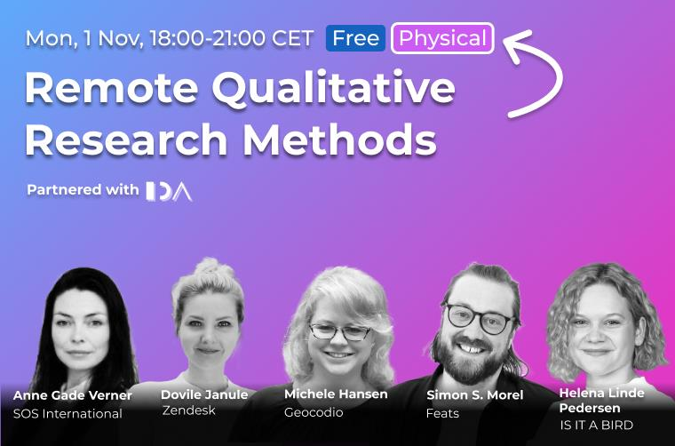 Remote Qualitative Research Methods, a UX Talk together with CPHUX